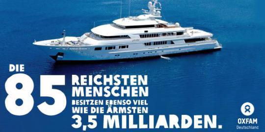 Grafik: Die 85 reichsten Menschen der Welt besitzen ebenso viel, wie die ärmsten 3,5 Milliarden.
