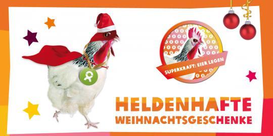 """Unser OxfamUnverpackt-Superheld des Tages: Das Huhn mit seiner Superkraft """"Eier legen""""! © Oxfam Deutschland"""