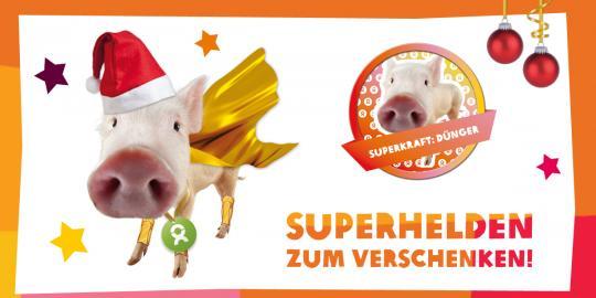 Unser OxfamUnverpackt-Superheld des Tages: Das Schwein mit seiner Superkraft Dünger! © Oxfam Deutschland