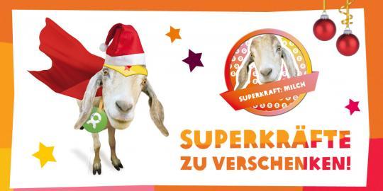 Unser Superheld von OxfamUnverpackt: Die Ziege Ziggy mit ihrer Superkraft Milch! © Oxfam